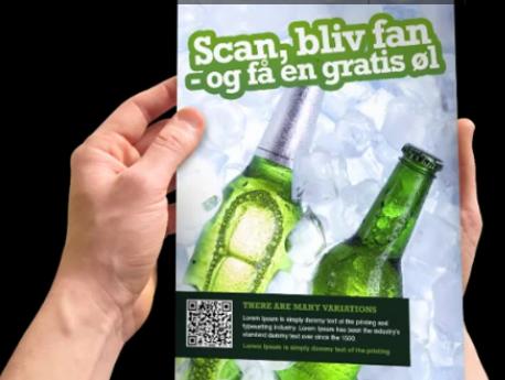 Folleto con QR - Escanéa, hazte fan - y recibe una cerveza gratis