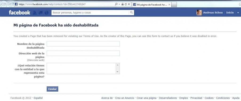 Formulario: Mi pagina de Facebook ha sido deshabilitada