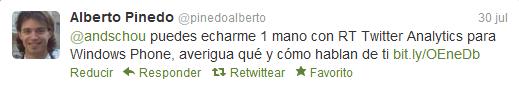 Tweet de Alberto Pinedo