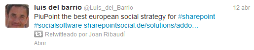 Tweet de Luis del Barrio retweeteado por Joan Ribaudi