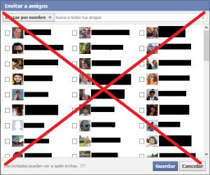 No uses la función Invitar a amigos en Facebook