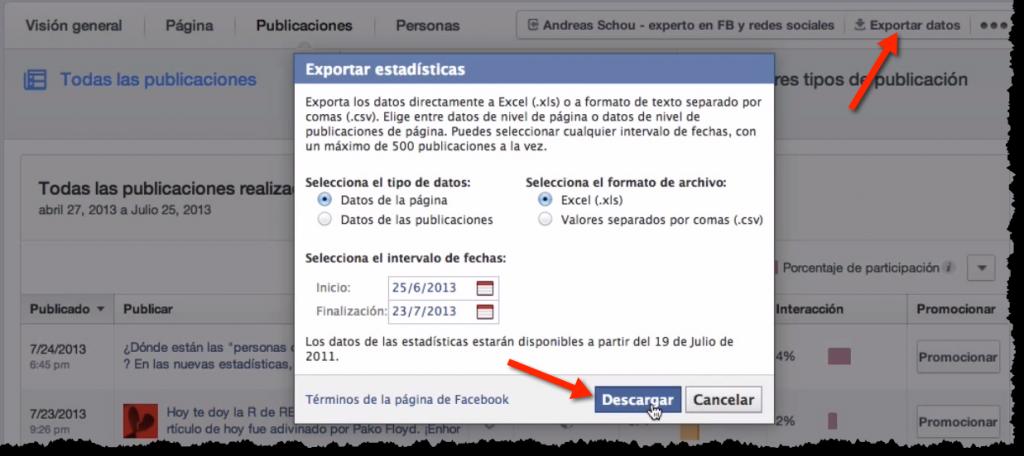 Exportar datos en las nuevas estadisticas de Facebook