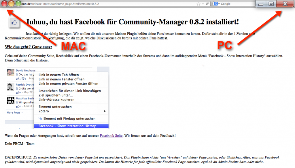 Se ha instalado con éxito Facebook for Community Manager