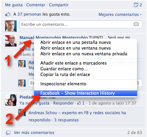 Puedes ver Facebook for community managers - Historial de interaccion en dos clics