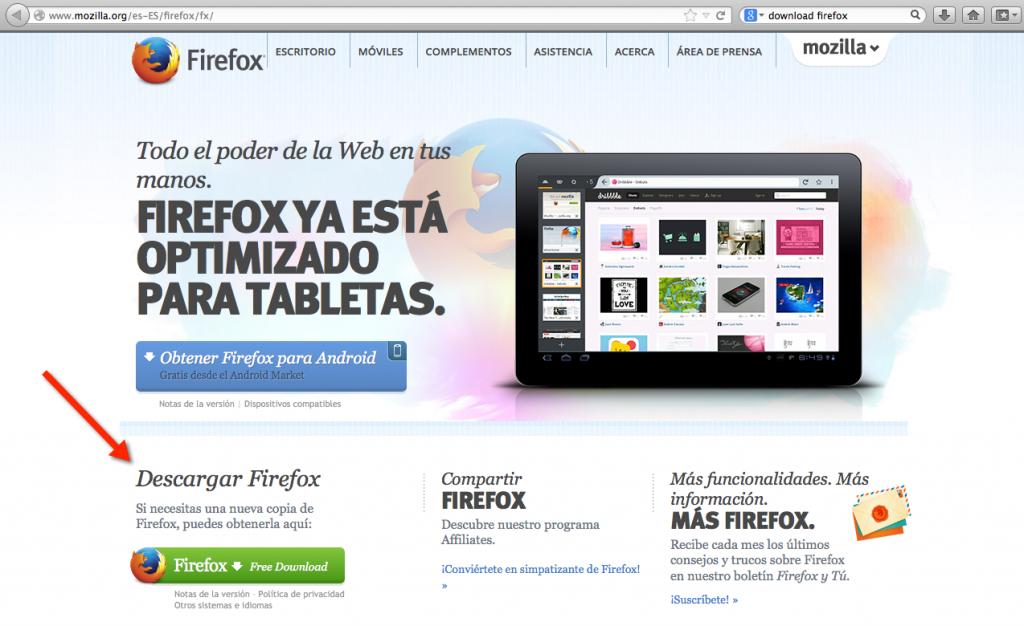 Clic en el botón verde para descargar Firefox