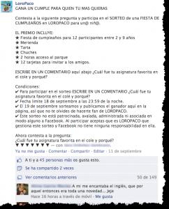 Ejemplo de como cumplir con normas de concursos en Facebook