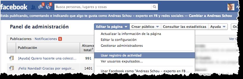 Acceder al registro de actividad de una pagina en Facebook