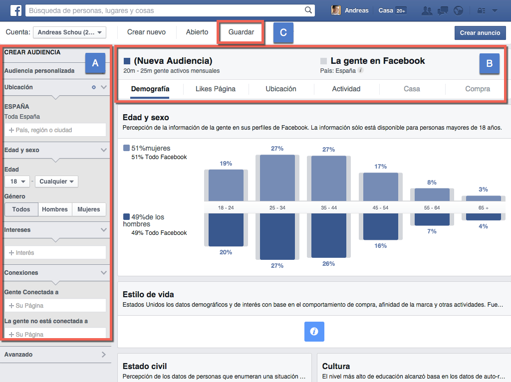 Facebook Audience Insights en español - paneles para segmentar explorar guardar publicos