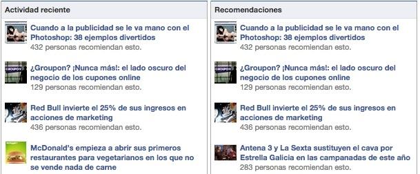 Dos de las plug-ins sociales de Facebook muestran los contenidos de una página web que se comparten en Facebook