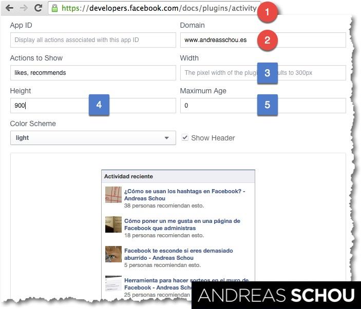 Cómo configurar el plug-in social Facebook Actividad Reciente. Los pasos en rojo son obligatorios. Los pasos en azul son opcionales.