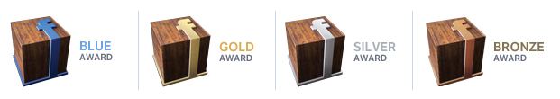 premios facebook award blue gold silver bronze