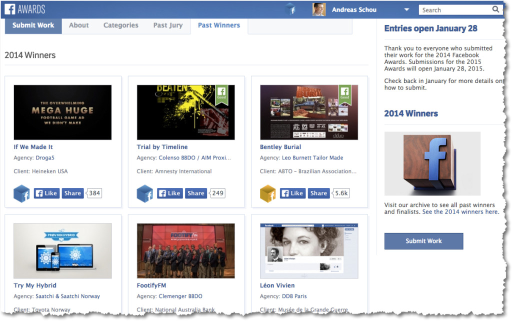 premios facebook awards ganadores 2014