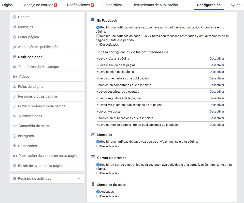 Cómo desactivar las notificaciones de las páginas de Facebook - configuración