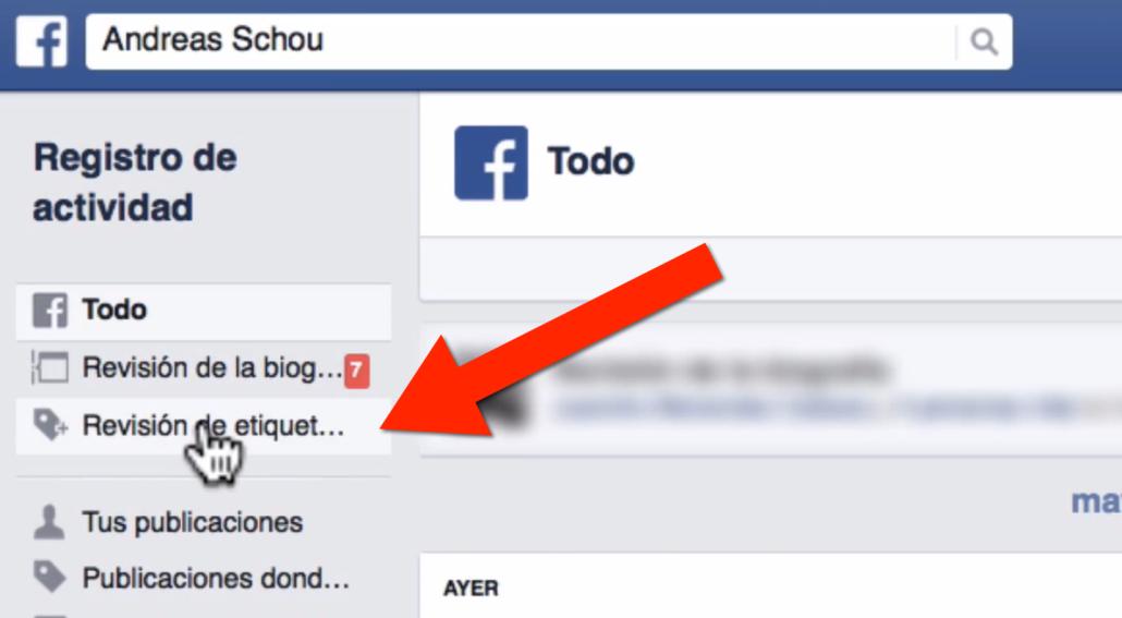 Paso 4 como evitar que me etiqueten en Facebook