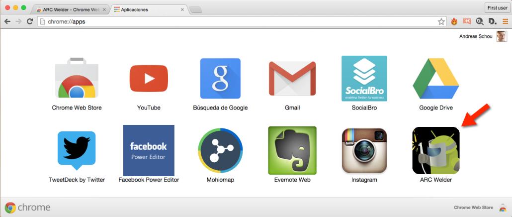 ARC Welder emulador Android para Chrome - herramientas de Instagram para empresas