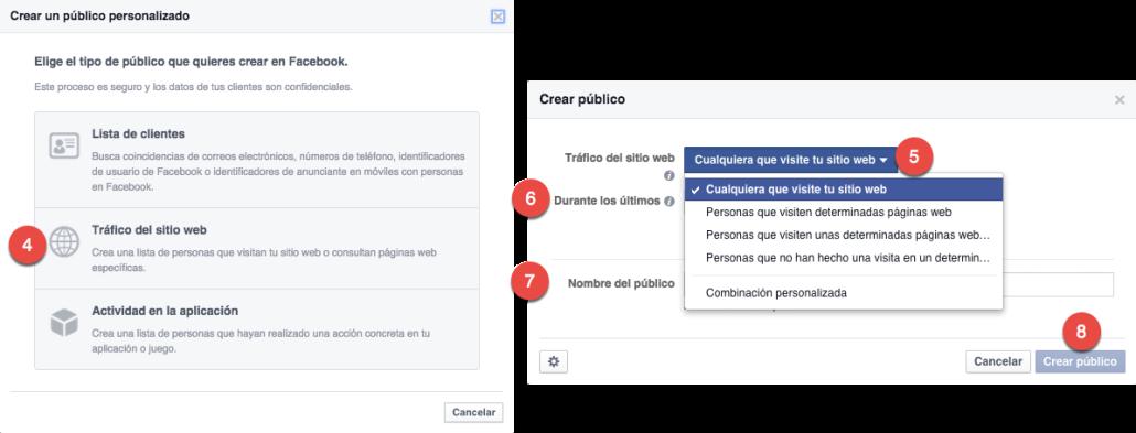 Como crear un pixel de remarketing para Facebook - trafico del sitio web