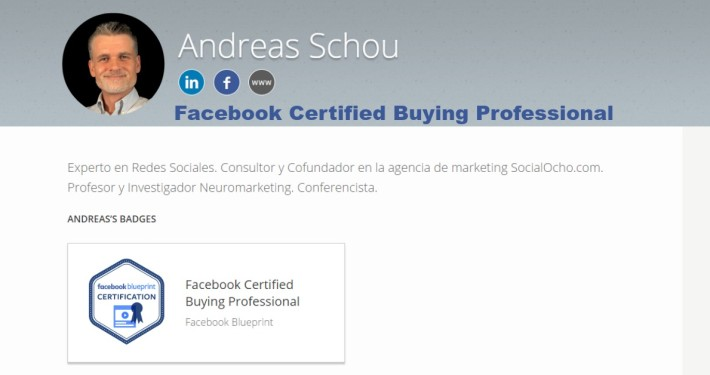 Certificación de Facebook Andreas Schou Certified Buying Professional